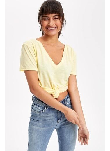 DeFacto V Yaka T-Shirt Sarı